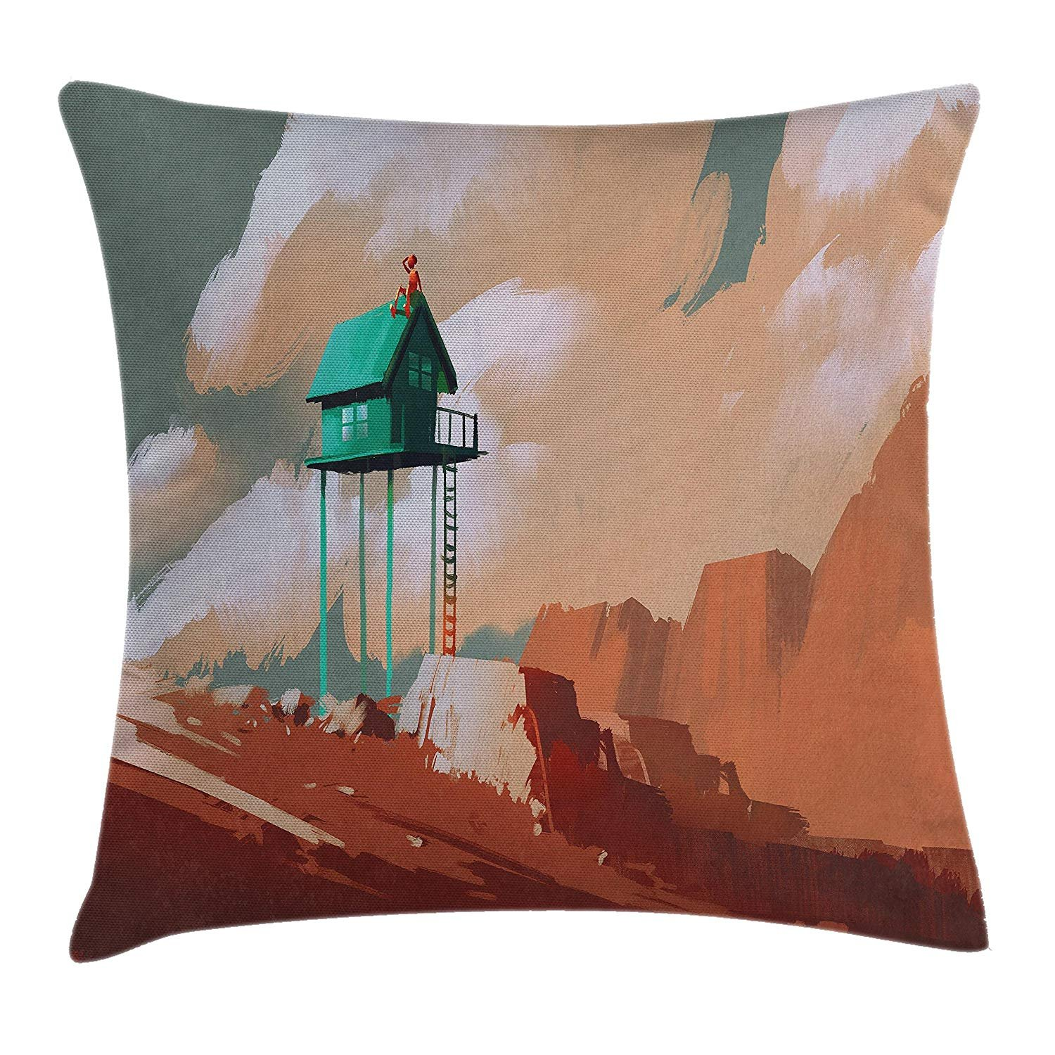 Queen Area Fantasy House Decor Little Wood House on Stone Hill Boy on the Cloudy Roofprint Square Throw Pillow Covers Cushion Case Sofa Bedroom Car 18x18 Inch, Tan Green