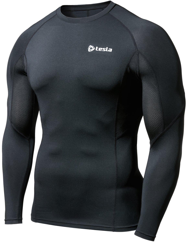 (テスラ)TESLA オールシーズン 長袖 ラウンドネック スポーツシャツ [UVカット吸汗速乾] コンプレッションウェア パワーストレッチ アンダーウェア R11 / MUD01 / MUD11 B06WGTZFYJ Medium|TM-R19-BLKZ TM-R19-BLKZ Medium