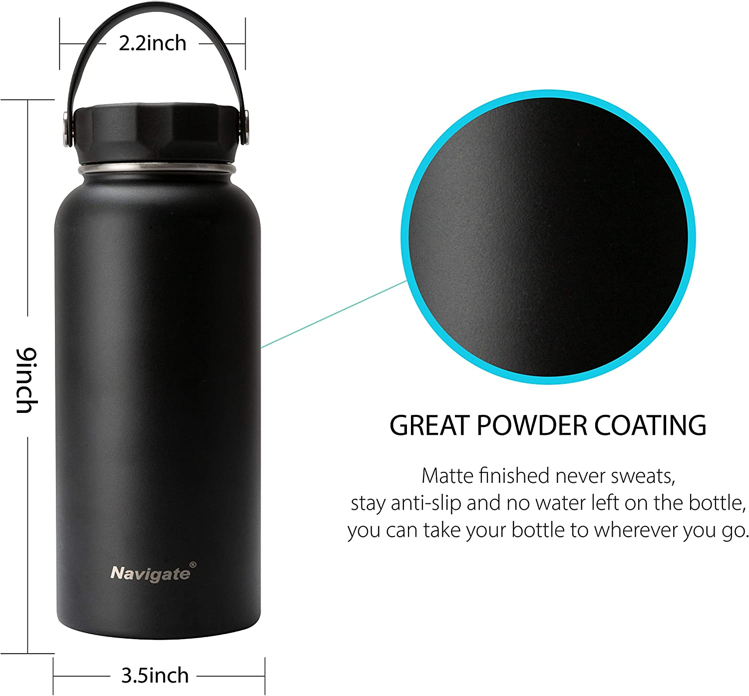 NAVIGATE 32oz Wide Mouth Stainless Steel Water Bottle with Bonus Lid Double Walled Vacuum Insulated Travel Sports Flask Thermos Keep Drink Stay Cold /& Hot,BPA Free Leak Proof