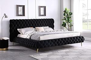Best Master Furniture Jacquelyn Upholatered Velvet Tranistional Platform Bed, King, Black