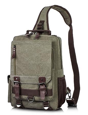 d3265e961e3 Amazon.com   Canvas Messenger Bag for Men Laptop Sling Backpack Cross Body  Shoulder Travel Rucksack Army green vintage   Messenger Bags