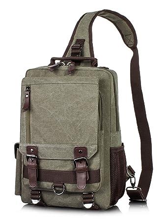 d9fdc2bbad Canvas Messenger Bag for Men Laptop Sling Backpack Cross Body Shoulder  Travel Rucksack Army green vintage