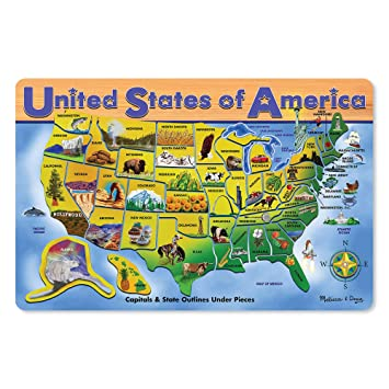 Amazon Com Melissa Doug Wooden Usa Map Puzzle Wipe Clean Surface
