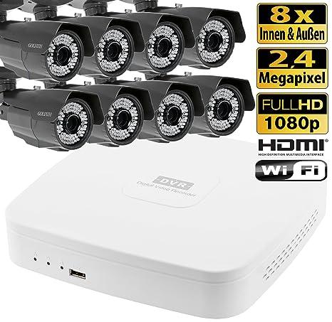 HDCVI Videovigilancia Juego 8 canales DVR 8 exterior cámaras de vigilancia 2,4 Mega Pixeles