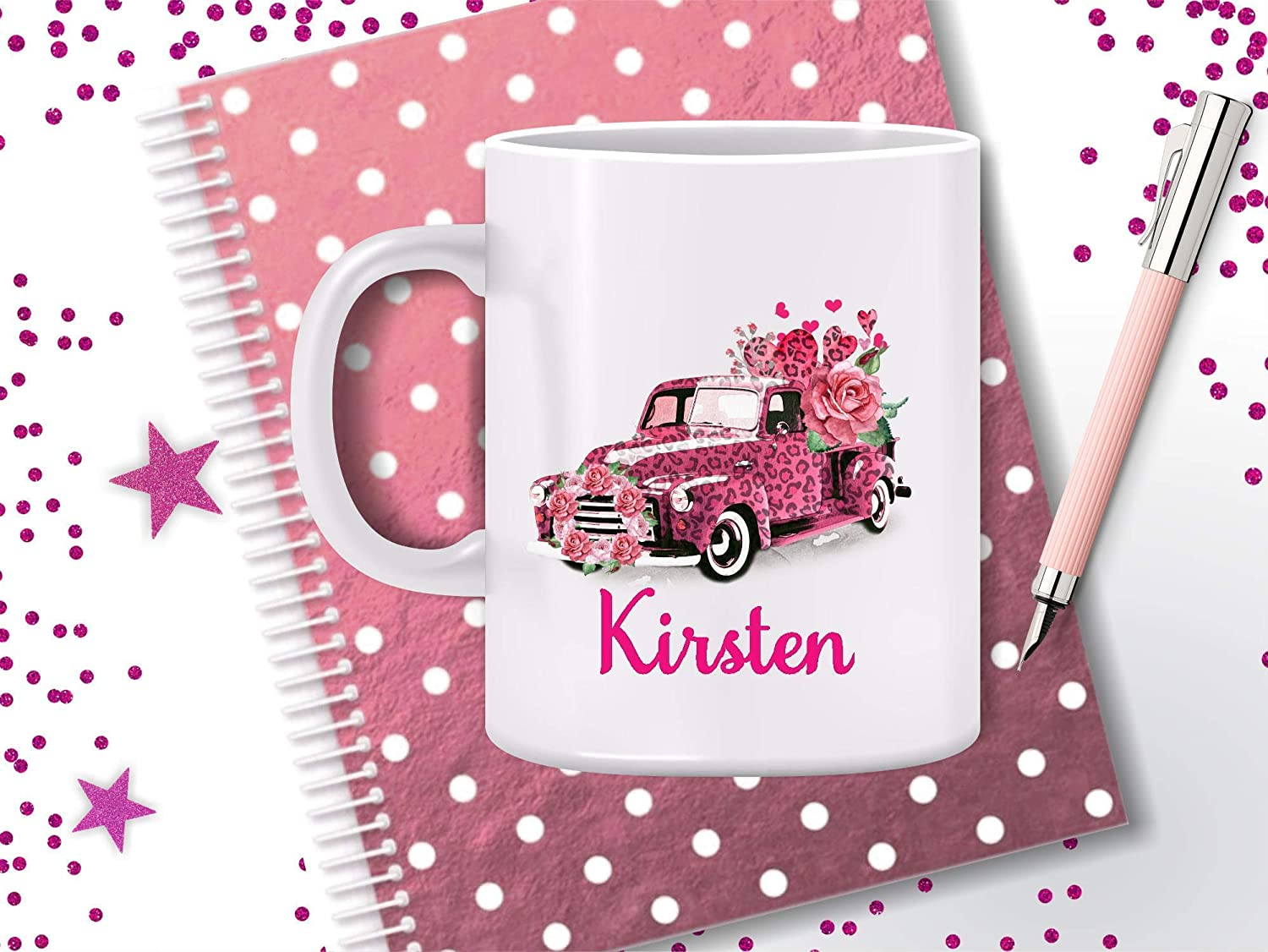 Gift for Mom Grandma Valentines Leopard Pink Truck Personalized Mug Wife Gift Valentines Day Gift Coffee Mug Coffee Cup