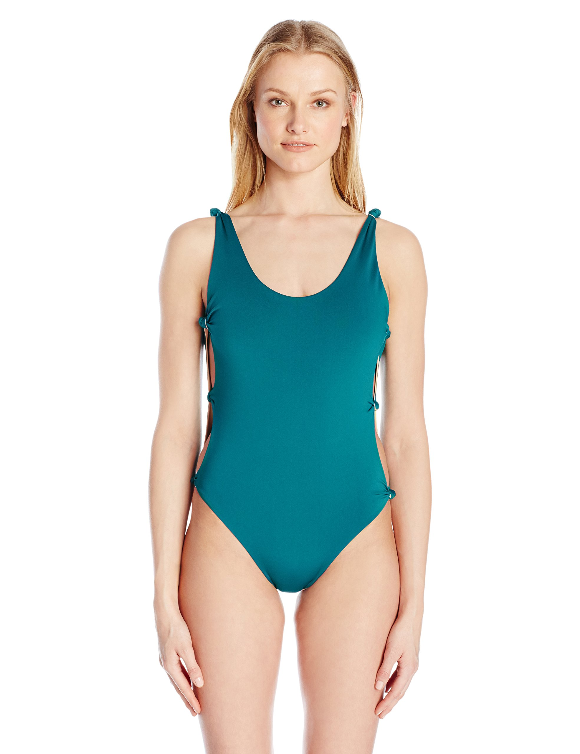 Red Carter Women's Indian Summer Reversible Solid Open-Side One Piece Swimsuit, Lagoon/Apricot, M