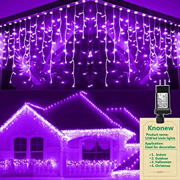 98ft 1216 LED Cool White KNONEW LED Icicle Lights Curtain Fairy String Light Clear Wire LED String Decor for Christmas//Thanksgiving//Easter//Halloween//Party Backdrops Decorations 8 Modes