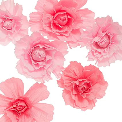 Amazon lings moment large paper flower decorations 6 x pink lings moment large paper flower decorations 6 x pink crepe paper flower handcrafted flowers mightylinksfo