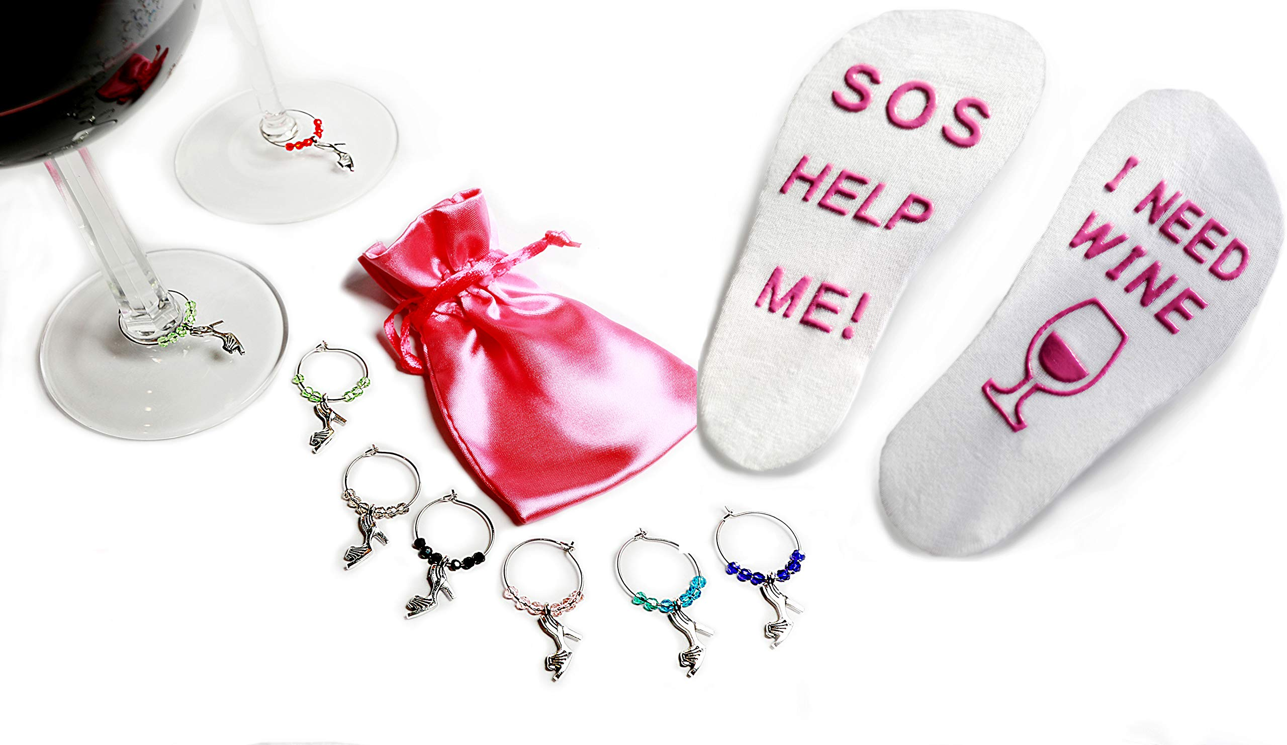 Accessories LA Funny Wine Socks and Wine Glass Charms in Gift Box for Wine Lover's