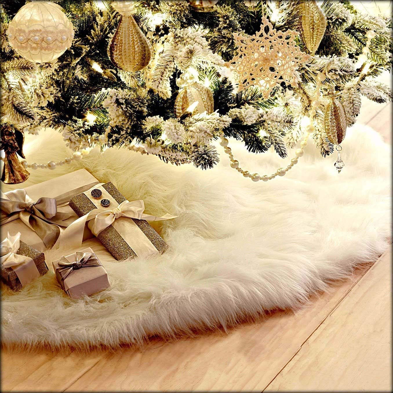 Velidy Christmas Tree Skirt Xmas Pure Color Floor Mat Soft Snow Tree Skirts for Xmas Holiday Decorations Pet Favors(White, 35.4'')
