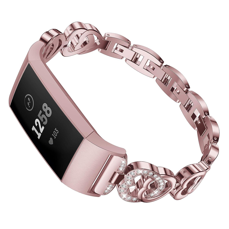 Bandes M/étalliques de Rechange en Acier Inoxydable avec Bracelet en Strass Bling Bandes pour Fitbit Charge 3 Montre Intelligente Poudre de Rose HEYSTOP/Compatible Fitbit Charge 3 Bracelet