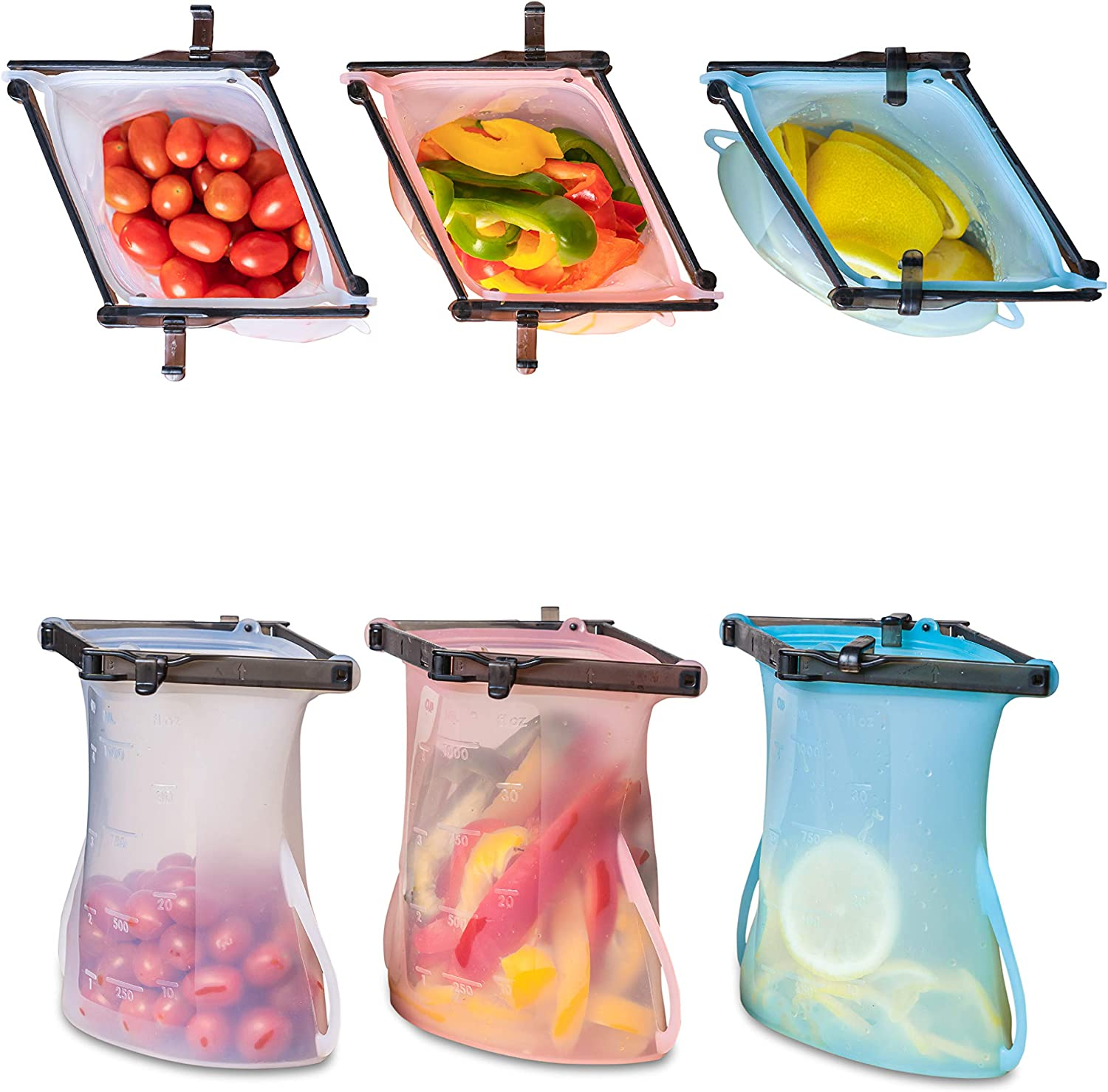 Standing Easy-Open Silicone Storage Bags