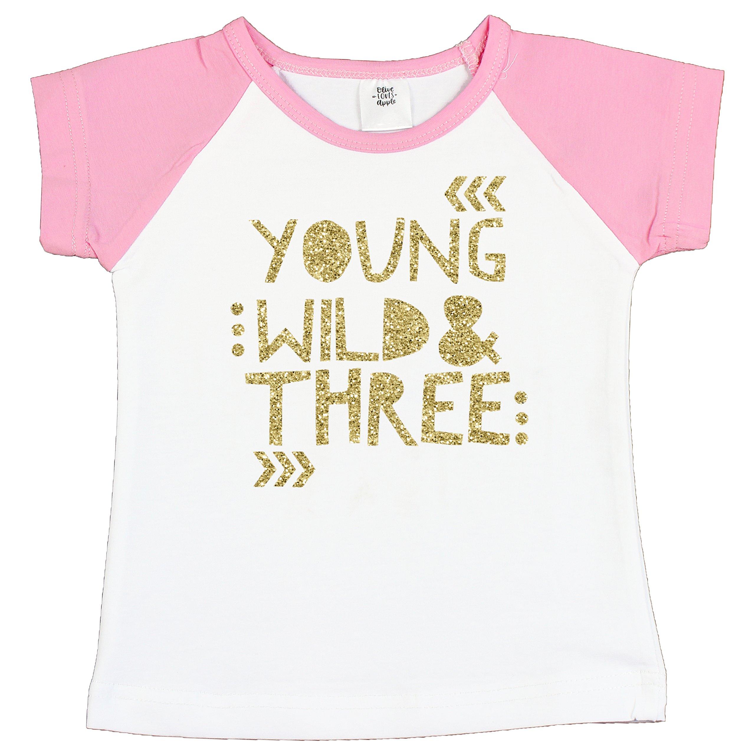 Olive Loves Apple 3rd Birthday Shirt for Girls Young Wild & Three Pink Raglan Short Sleeve