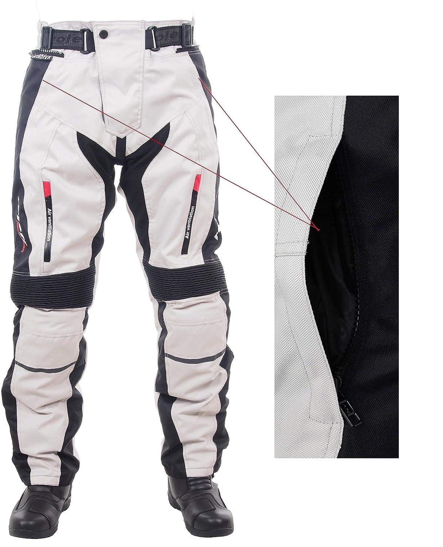Helle Motorradhose f/ür Sommer und Winter in schwarz//grau mit Protektoren Bel/üftungssystem und herausnehmbarem Thermofutter