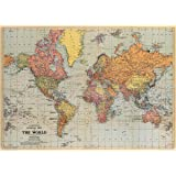 Cavallini & Co. World Map Decorative Wrapping Paper 20x28 (World Map)