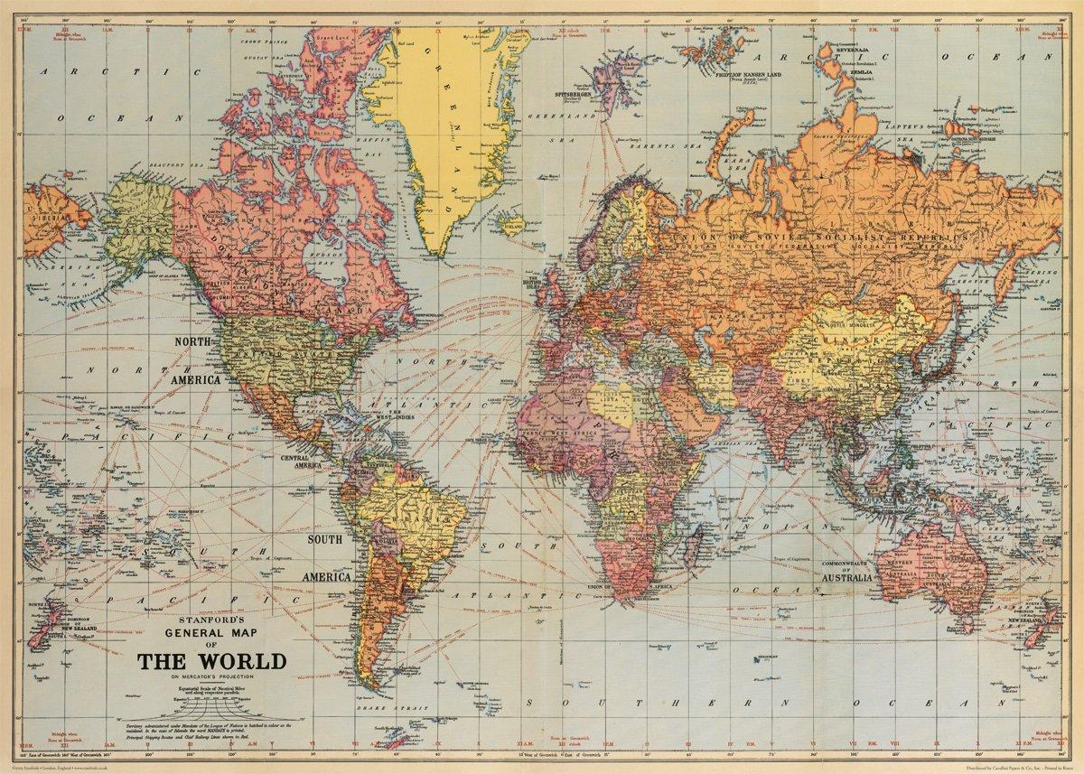 Decorative World Map Amazon.com: Cavallini Co. World Map 1 Decorative Paper Sheet 20
