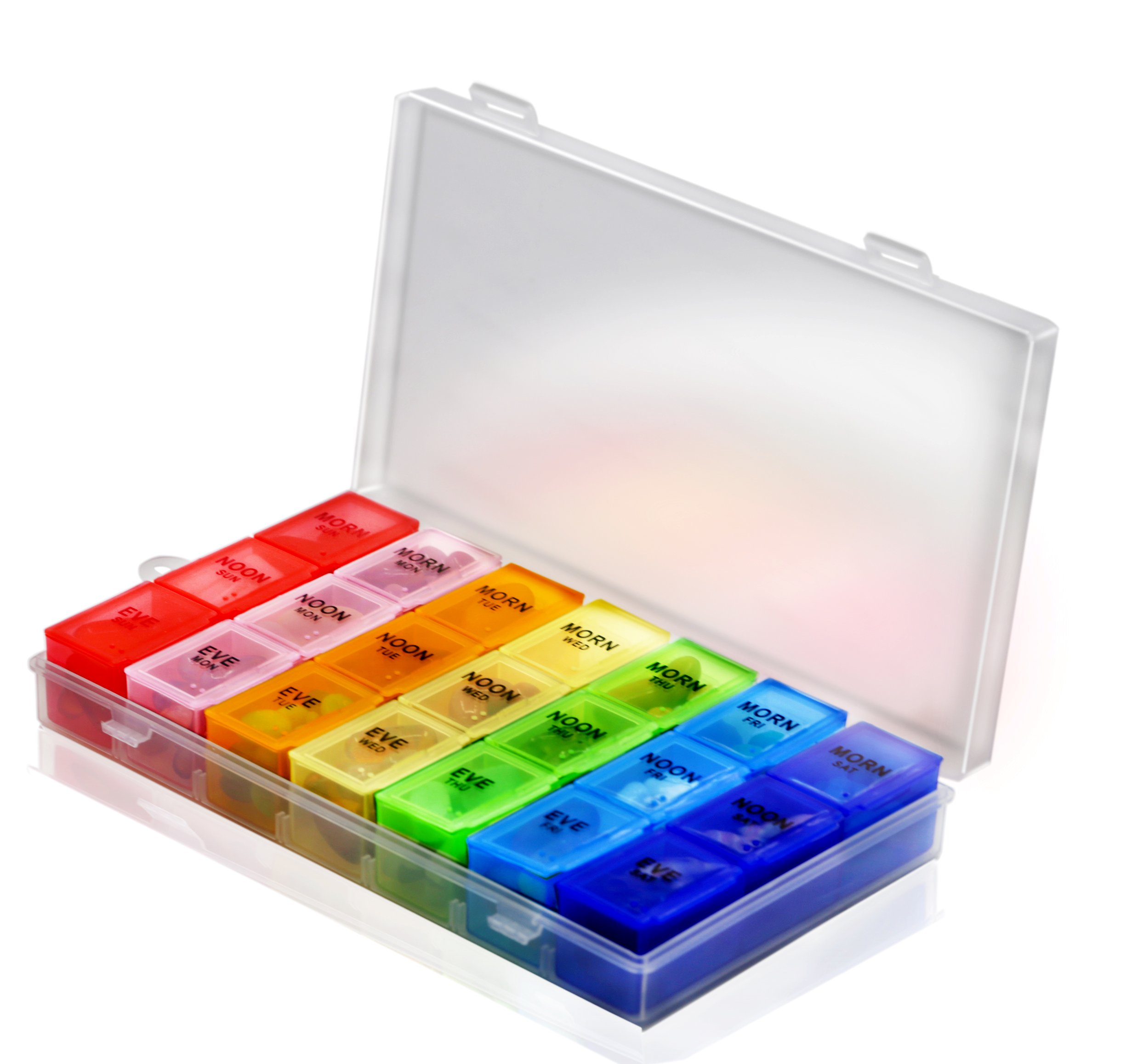 Pill Organizer Box with Snap Lids| 7-day AM/PM | Detachable Compartments for Pills, Vitamin. (Rainbow+60182) by Inspiration Industry NY (Image #2)