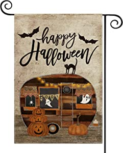 AVOIN Happy Halloween Camper Trailer Pumpkin Garden Flag Vertical Double Sized, Black Cat Ghost Bat Yard Outdoor Decoration 12.5 x 18 Inch