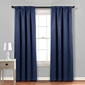 """MYSKY HOME Blackout Curtains 72 Inch Length,Thermal Insulated & Privacy Rod Pocket Curtain Drapes for Kitchen Dining Room Cafe 42""""x72"""",Navy, 2 Panels"""