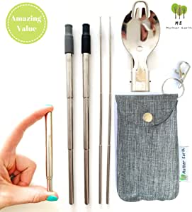 ME.MOTHEREARTH ME.Mother Earth Premium Collapsible Reusable Stainless Steel Eco Friendly | 2-Pack Telescopic Drinking Straws | Keychain Fashion Bag with Cleaning Brush and Foldable Spork