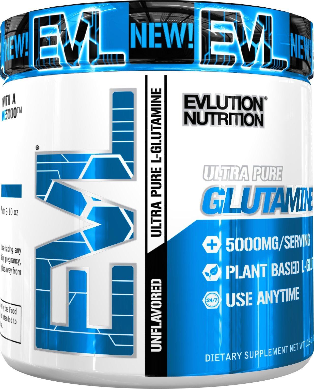 Evlution Nutrition Glutamine 5000 5 Grams of Pure Glutamine in Each Serving Unflavored Powder (60 Servings)