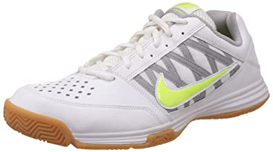 Nike Men's Court Shuttle V White, Volt and Wolf Grey Badminton Shoes -10 UK