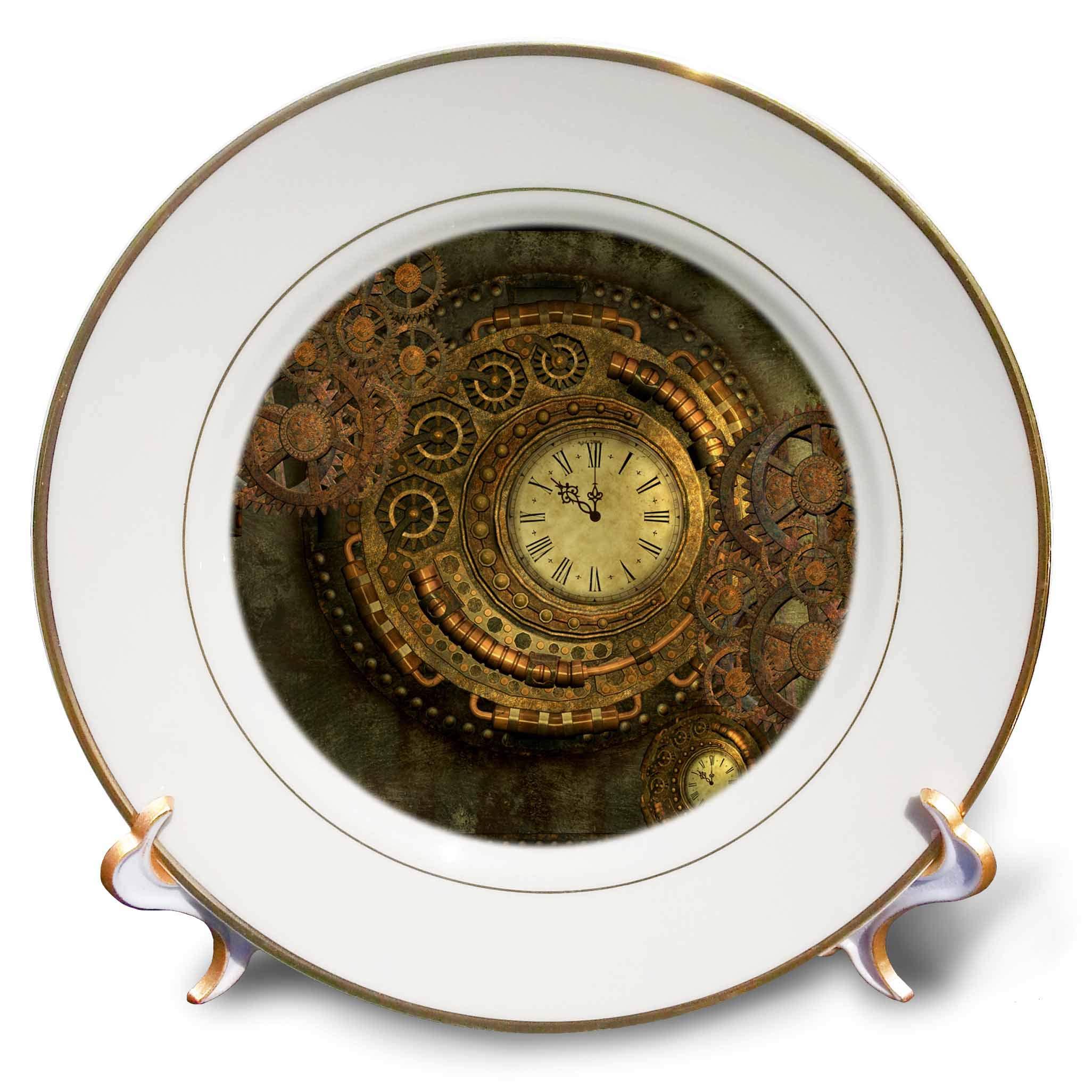 3dRose Heike Köhnen Design Steampunk - Wonderful Clockwork, Steampunk Design, Golden Colors - 8 inch Porcelain Plate (cp_293087_1)