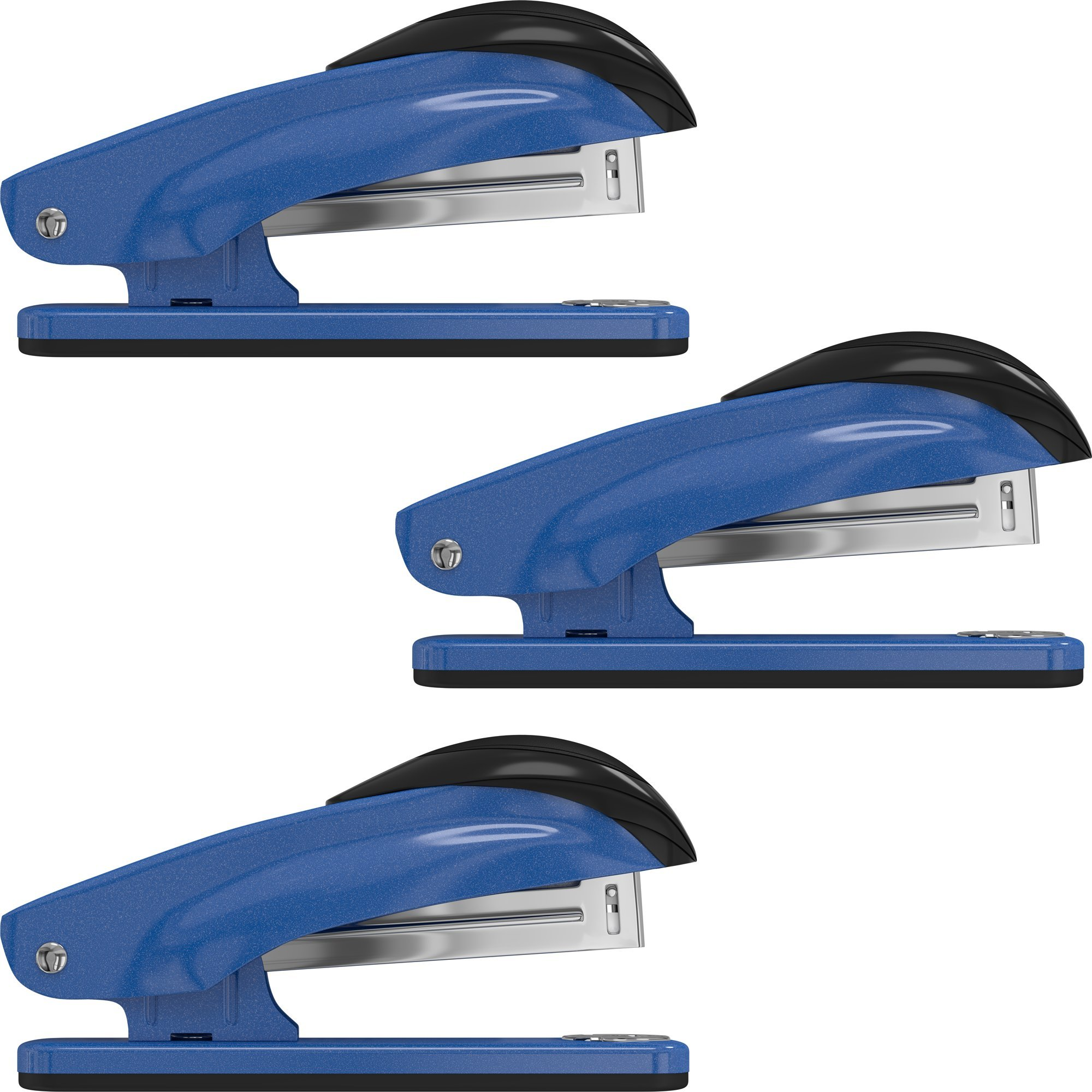 Desk Stapler Set (3 Pack) for Office, School and Home - Small, Compact, Effortless & Ergonomic Metal Design - 20 Sheets Standard 24-26/6 Size - Blue