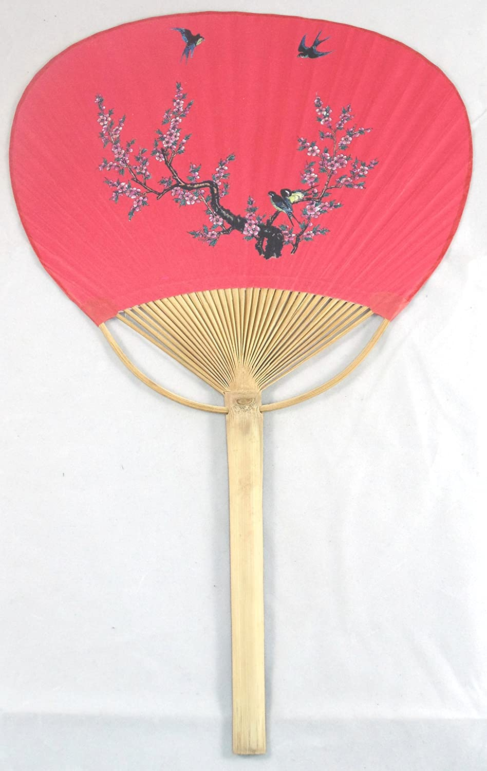 Amazon.com: Bamboo Hand Held Paper Paddle Fan (Red): Kitchen ...