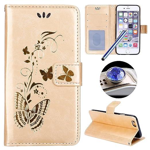 2 opinioni per Etsue iPhone 6 Cover,iPhone 6S Custodia in Pelle,Elegante Bella Butterfly Oro