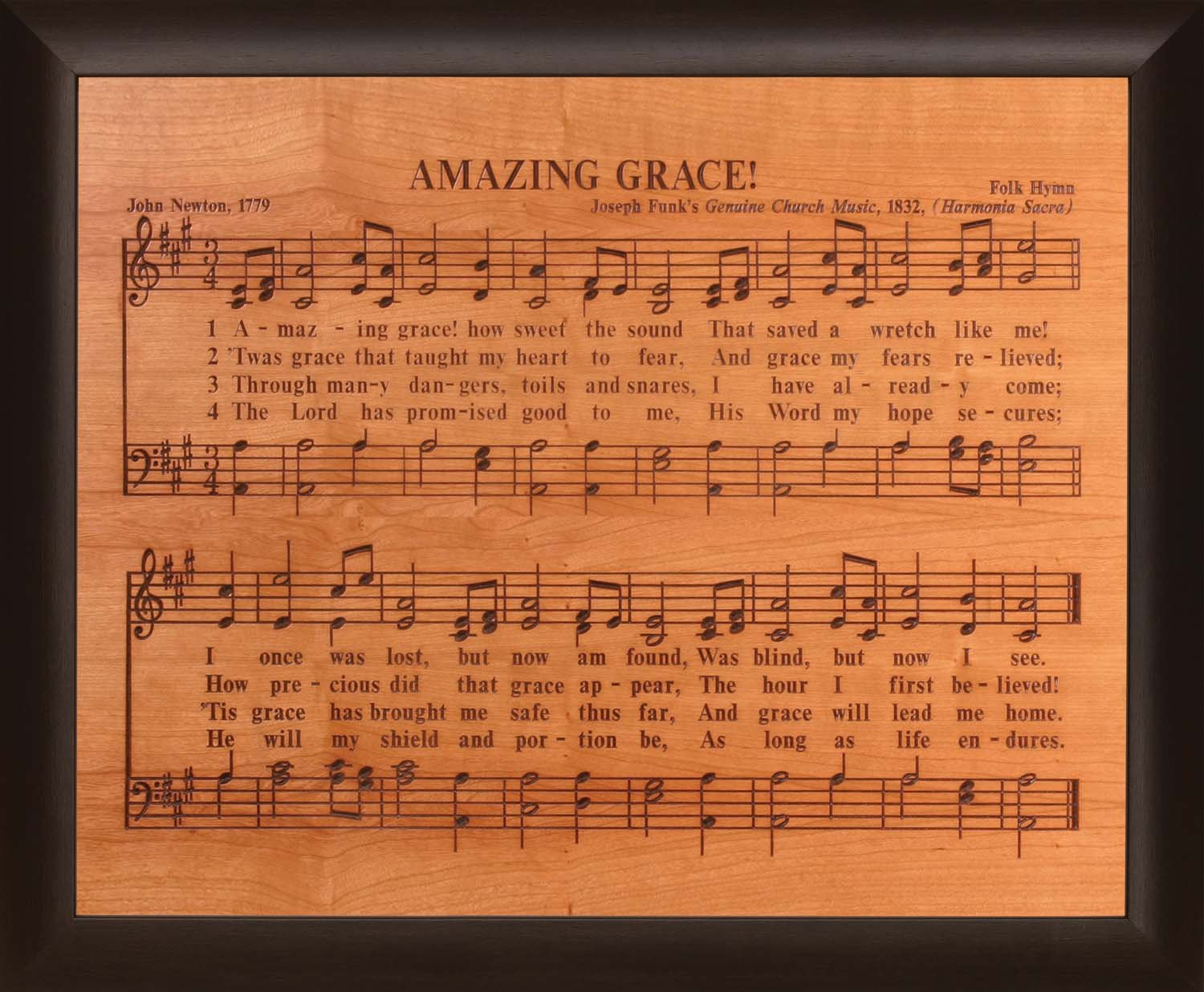Amazing Grace Sheet Music 28 x 35.5 Wood Twotone Carved Wall Mounted Plaque