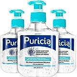 3 x 500 mL - Puricia Alcohol Based Hand Sanitizer and Moisturizing Gel - 70% Ethyl Alcohol Disinfectant 17 Oz Large…