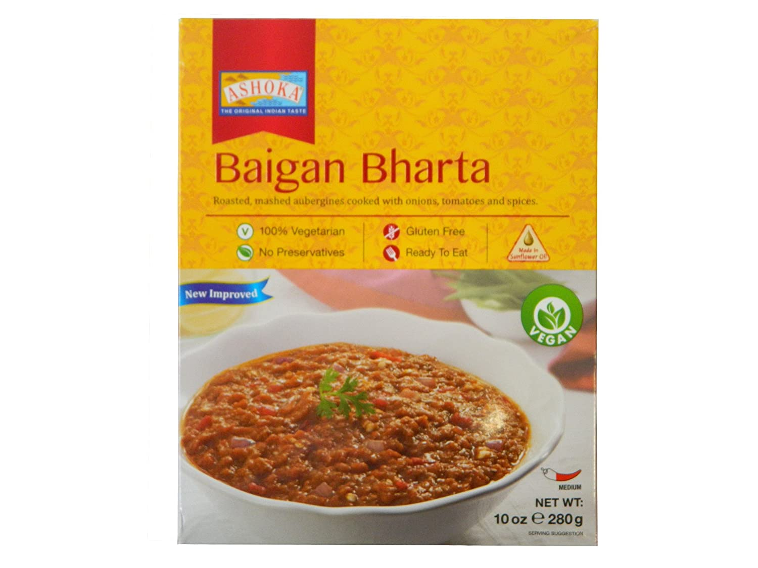 Ashoka Microwaveable Ready to Eat Meals - Baigan Bharta Mashed Aubergines Cooked with Onions, Tomatoes and Spices.