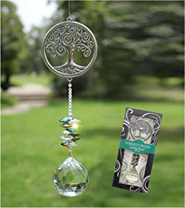 Crystal Garden Suncatcher Hanging Crystals Ornament for Window Rainbow Maker Prisms Home Decor Gift Boxed Sun Catcher Gift Idea for Mom Friends Grandma, Tree of Life