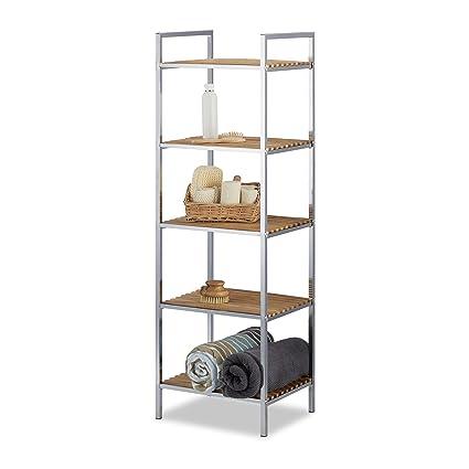 Relaxdays Badregal Bambus, 5 Ablagen, Metall, Küche, Badezimmer, Flur,  Standregal offen, HxBxT: 120 x 39 x 33 cm, natur