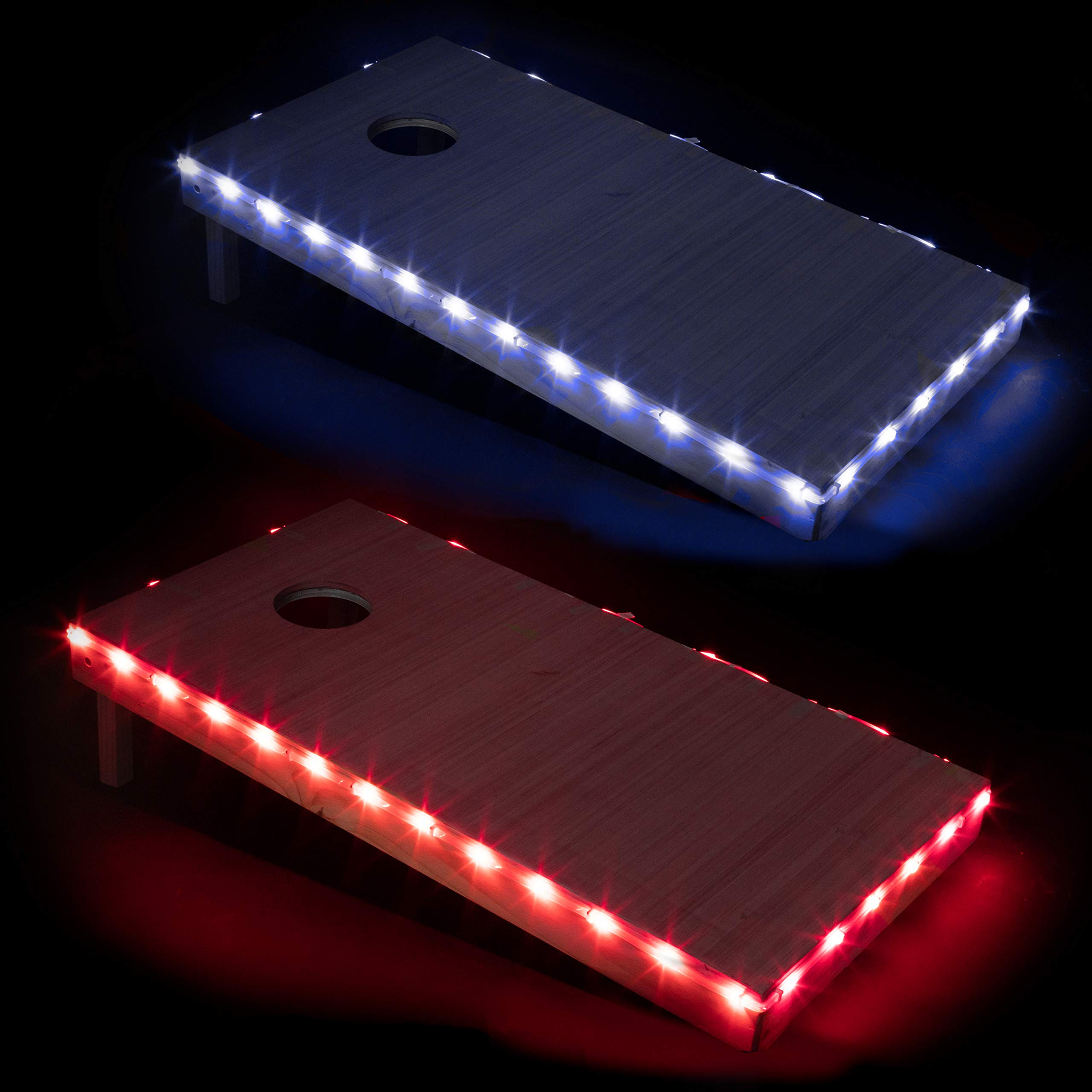 Play Platoon LED Cornhole Board Lights Set of 2, Red & Blue - Corn Hole Edge Lighting Kit for Lighted Outdoor Night Games - Bright, Long Lasting, Easy to Install by Play Platoon