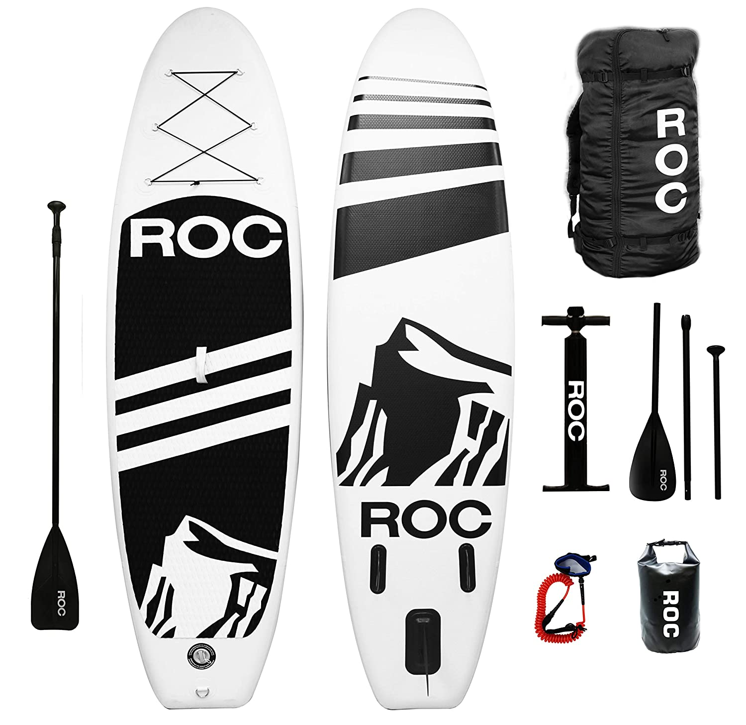 Roc Inflatable Stand Up Paddle Board W Free Premium SUP Accessories Backpack { Non Slip Deck } Bonus Waterproof Bag Leash Paddle and Hand Pump Youth Adult