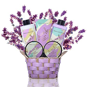 Lush Calming Lavender Bath and Body Spa Gift Sets in Handcrafted Wicker Basket - Premium 6