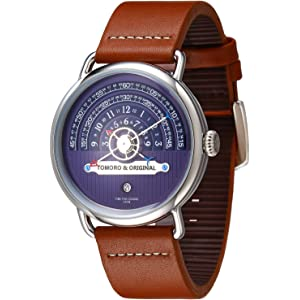TOMORO Original Creative Hour Time Display Vogue Men Brown Geuine Leather Quartz Watch