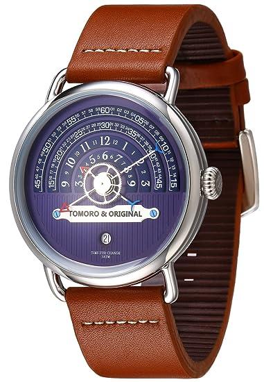 Tomoro Original creativo Visualización de la hora reloj de cuarzo de Vogue hombres marrón cuero Geuine