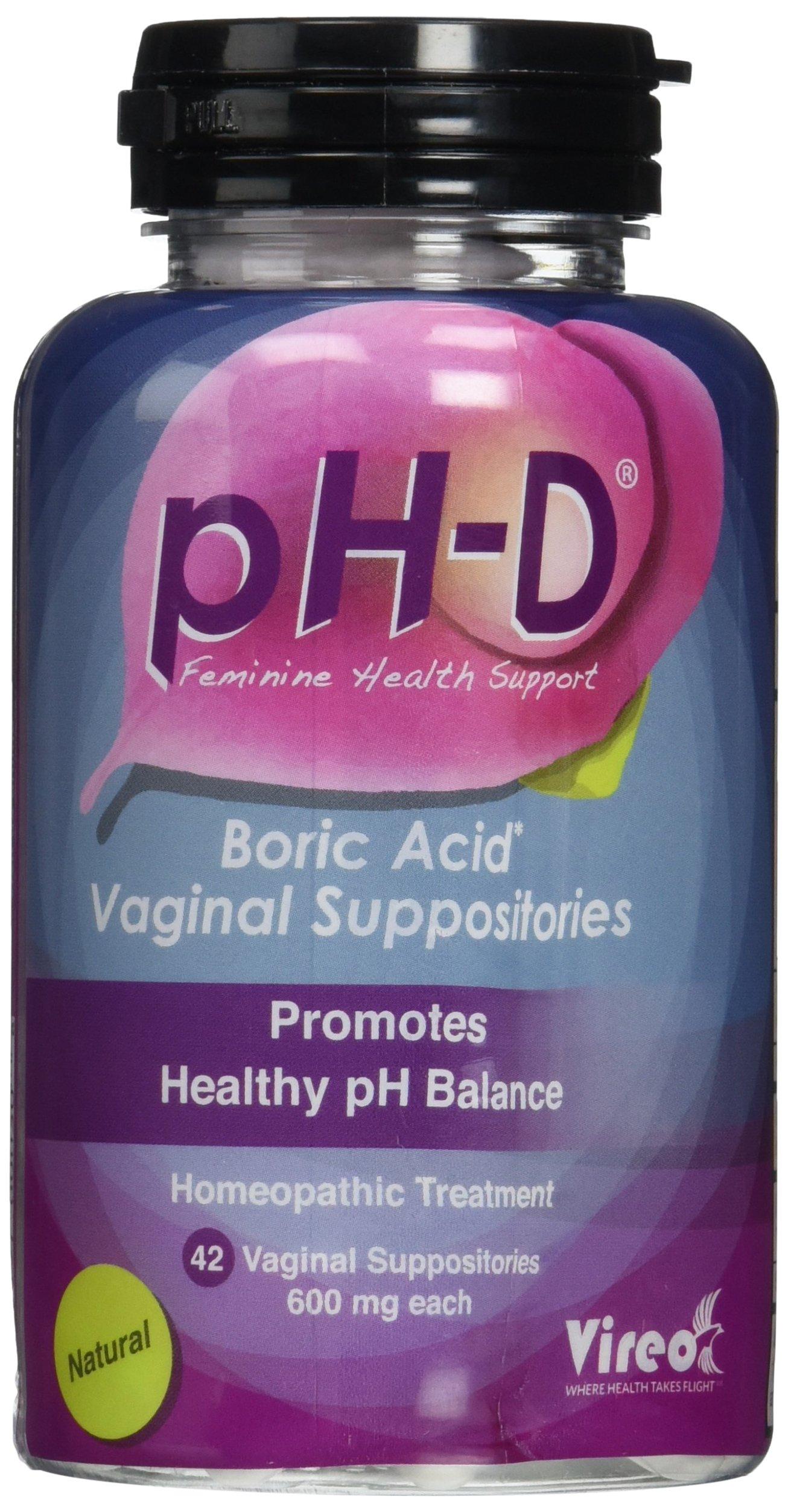 pH-D Feminine Health Support, Boric Acid Vaginal Suppositories, Bottle of 42 (600mg)