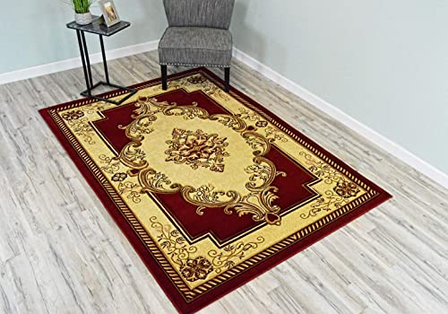 PlanetRugs Glamour Design 206 3D Hand Carved Traditional Rug Oriental Floral 5 2 x7 5 Burgundy Beige