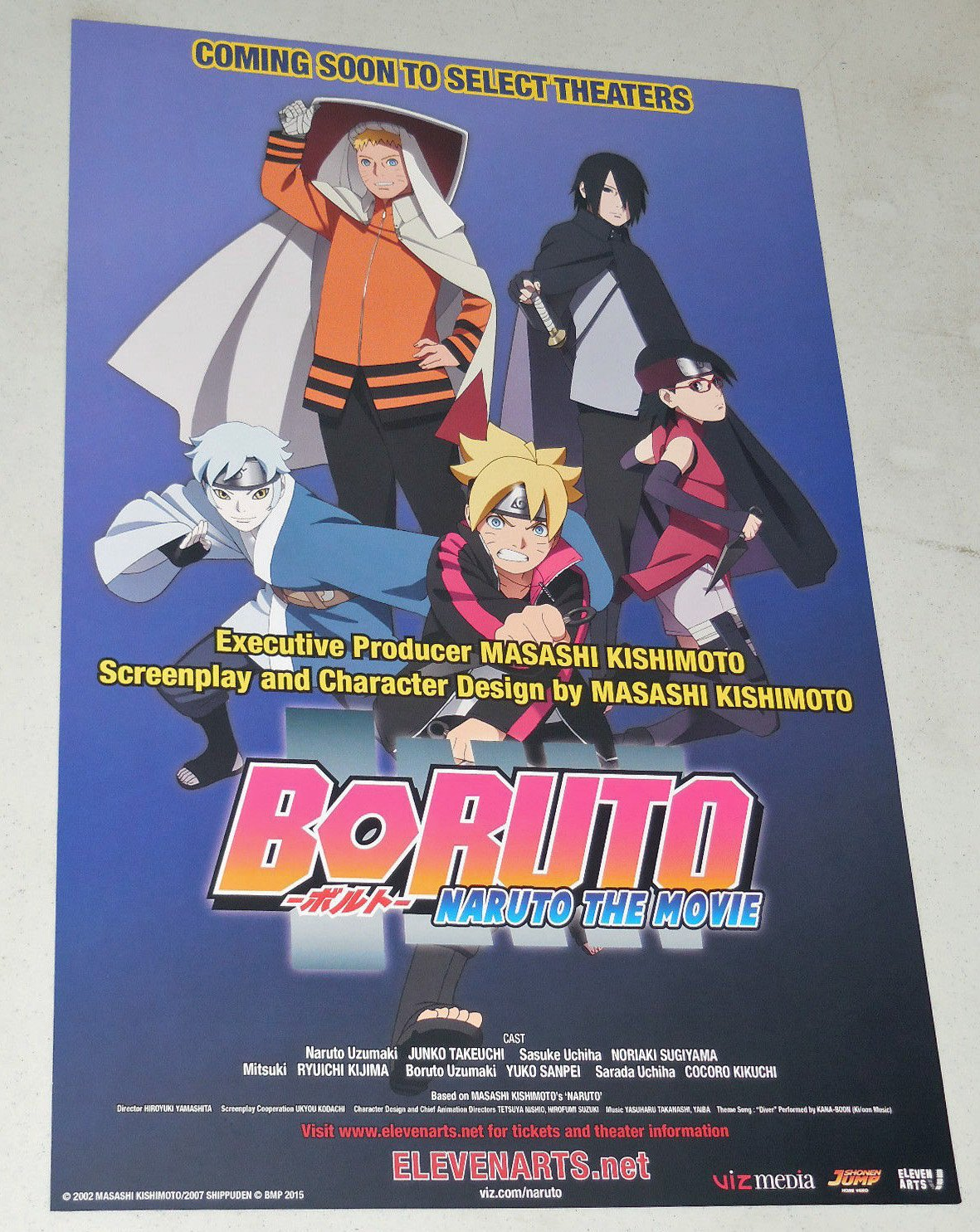 BORUTO: NARUTO THE MOVIE - 11'x17' D/S Original Promo Movie Poster 2015 Rare