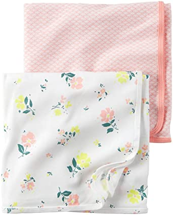 0b5a010c0027 Amazon.com  Carter s Baby Girl Swaddle Blankets - 2 pk - Floral Pink ...