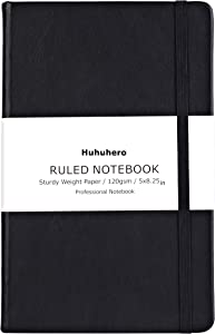 "Huhuhero Notebook Journal, Classic Ruled Hard Cover, 120Gsm Premium Thick Paper with Fine Inner Pocket, Black Faux Leather for Journaling Writing Note Taking Diary and Planner, 5""×8.25"" (1)"