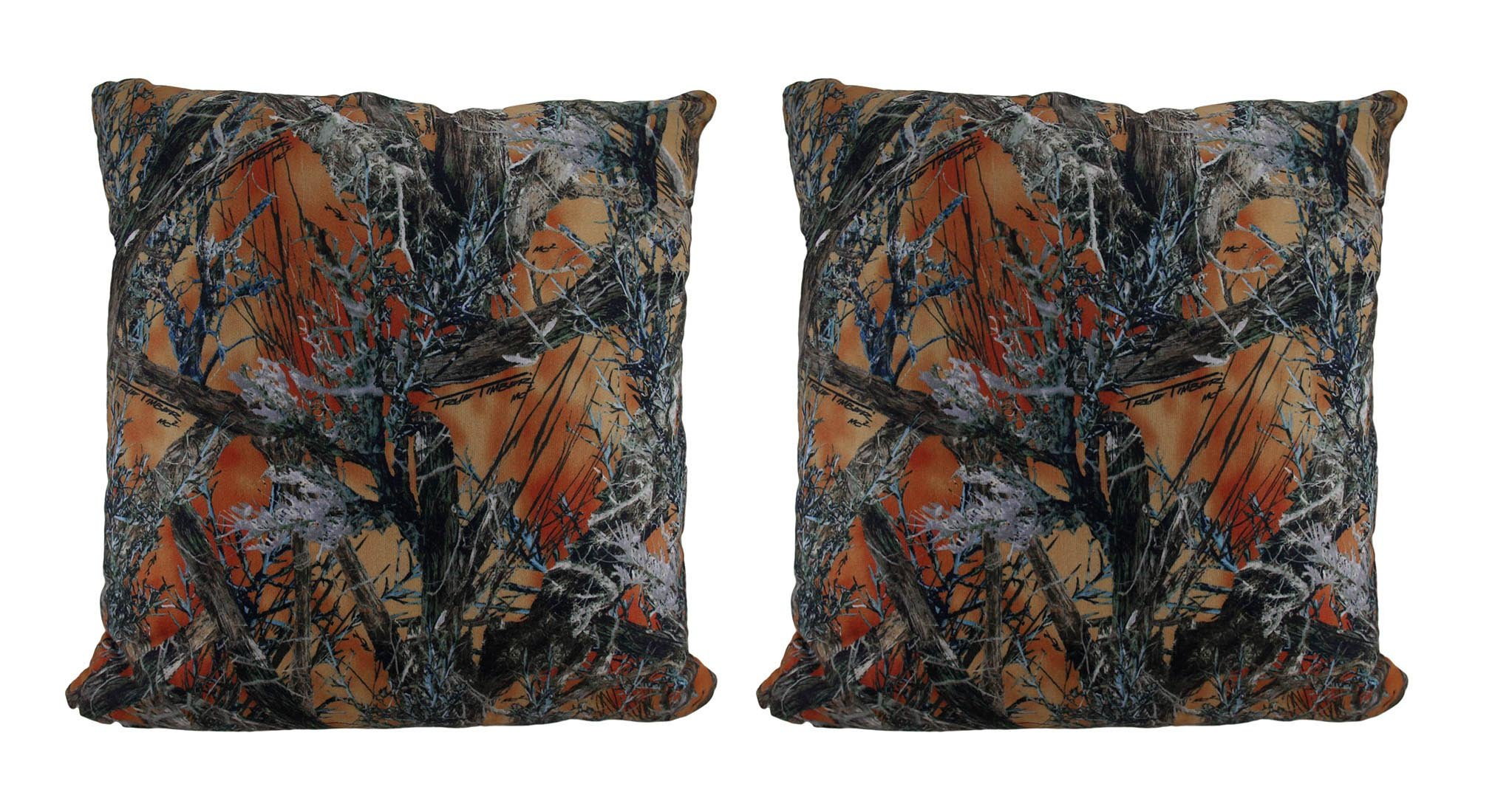 Zeckos Polyester Throw Pillows Orange Mc2 True Timber Camo Sherpa Microfiber Set of 2 Throw Pillows 18 X 7 X 18 Inches Orange