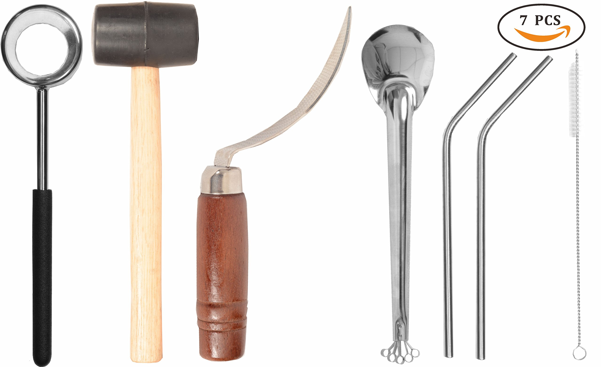 Coconut Opener, Coconut Opener Kit with Hammer Stainless Steel Opening Utensil Premium Wooden Handle, Coconut spoon, Drinking Straws, Straw Cleaner, Coconut Opener Tool Set for all Coconuts Drinks