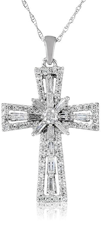Amazon 10k white gold diamond cross pendant necklace 1 cttw 10k white gold diamond cross pendant necklace 1 cttw 18quot aloadofball Image collections