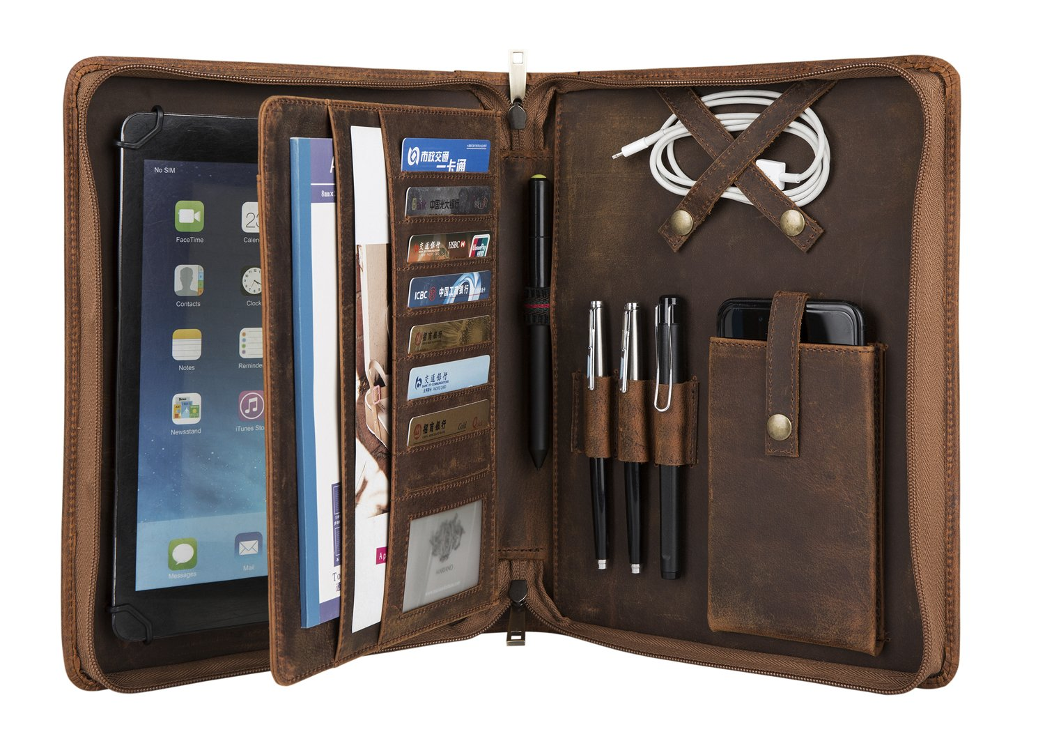 Vintage Crazy-Horse Leather Portfolio for 9.7-inch iPad/iPad Pro, Handmade Padfolio with A5 Size Notepad Holder, Business Carrying Case for Women
