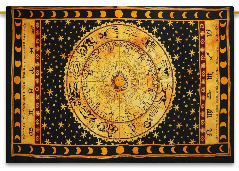 Amazon.com: Black Zodiac Tapestry Wall hanging Horoscope Tapestry ...